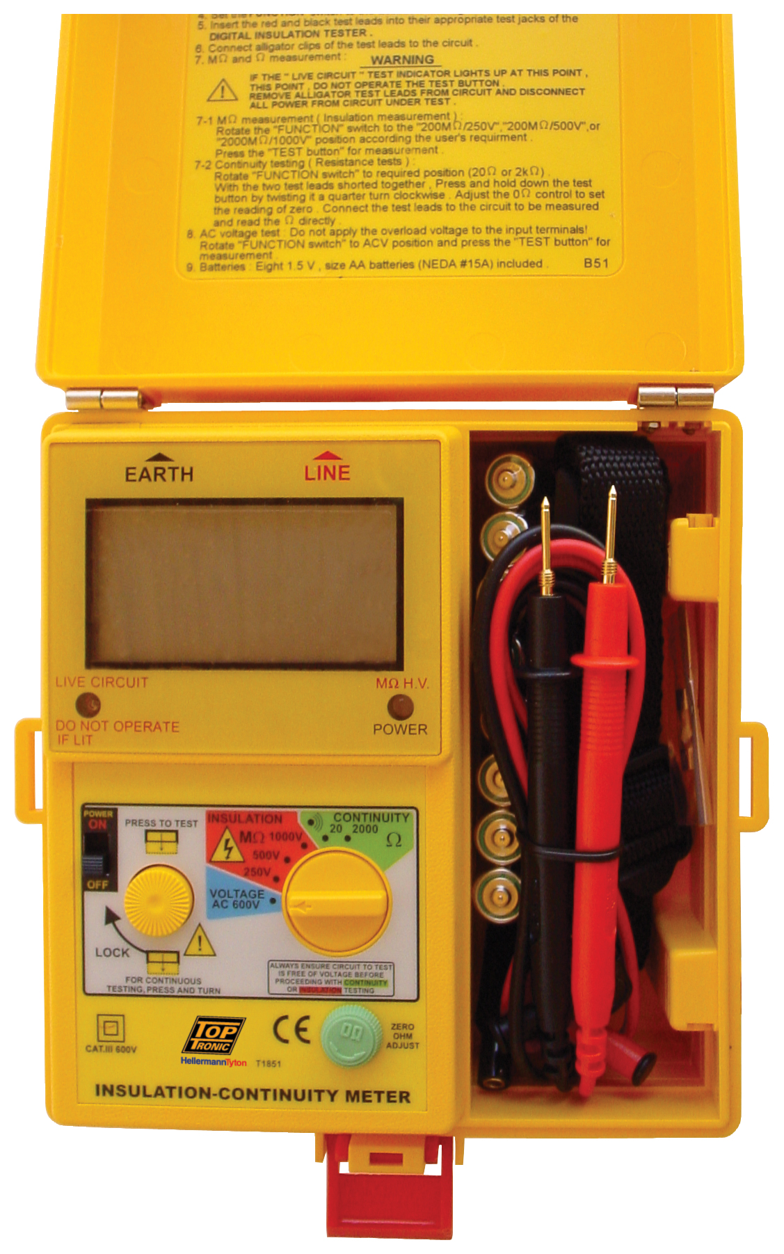 Insulation Continuity Testers Toptronic Ltd Tester Constant 5kv T1851